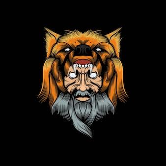 Illustrazione della mascotte dell'uomo del lupo della testa