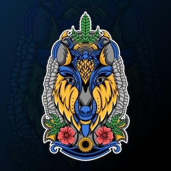 Testa di lupo con fiore e illustrazione di ornamento zentangle