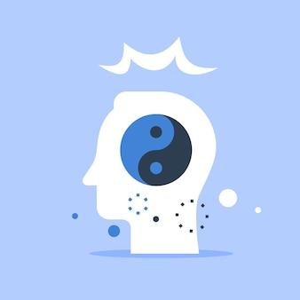 Illustrazione del segno di testa e yin yang Vettore Premium