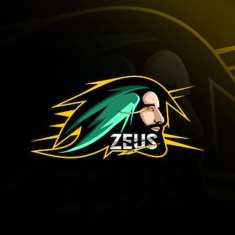 Logo e-sport design testa zeus mascotte logo