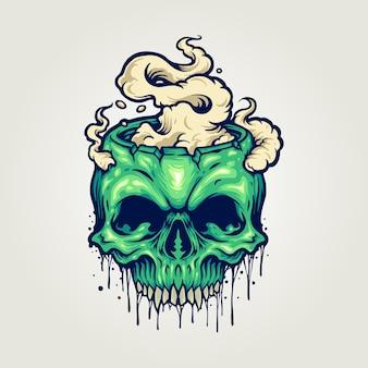 Testa zombie teschio cannabis smoke