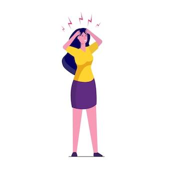 Attacco di mal di testa, affaticamento della compassione. illustrazione di dolore alla testa.