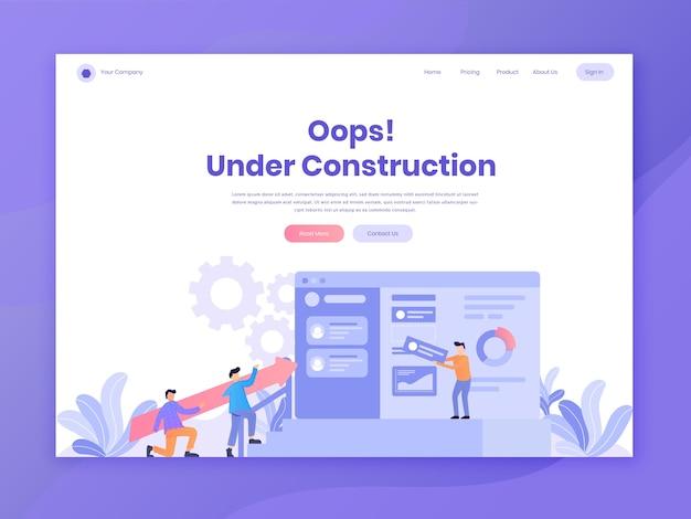 Modelli di pagina di destinazione web di intestazione per il web in costruzione e manutenzione