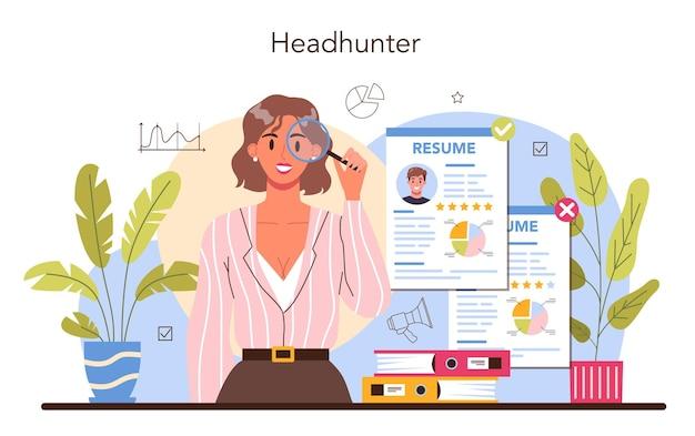 Idea di concetto di caccia di teste di reclutamento aziendale e umano