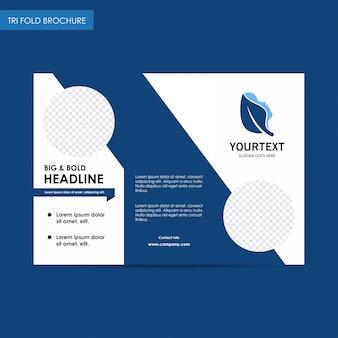 Brochure trifold della spa del titolo di headline, disegno di copertina blu, spa, pubblicità, pubblicità di riviste, catalogo