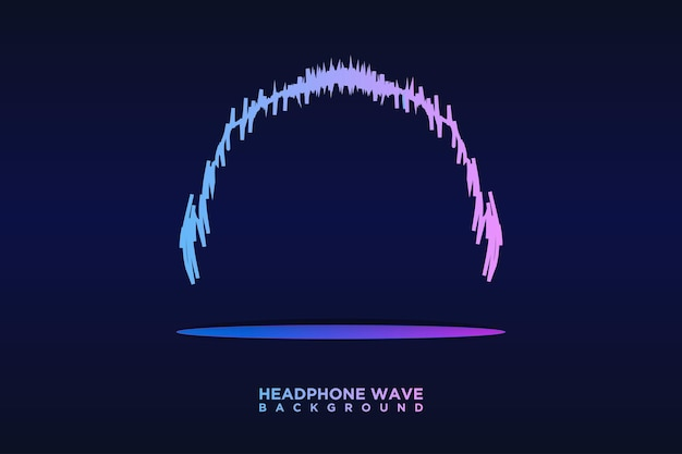 Cuffie audio linee di strisce di onde sonore equalizzatore colorato sfondo