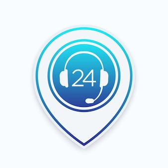 Icona delle cuffie sul puntatore della mappa, servizio di supporto 24 ore su 24, illustrazione vettoriale