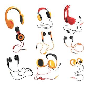 Set di cuffie e auricolari, accessori di tecnologia musicale illustrazioni su uno sfondo bianco