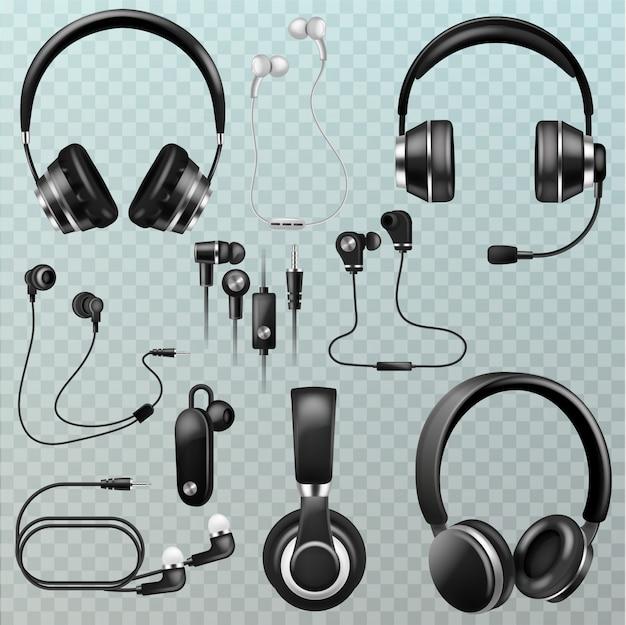 Cuffie auricolari e auricolari tecnologia stereo e apparecchiature audio dj illustrazione set di gadget digitali realistici copricapo per ascoltare la musica isolato su sfondo trasparente