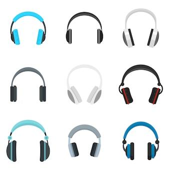 Set di icone di altoparlanti musica cuffie
