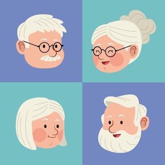 Set di teste di persone anziane
