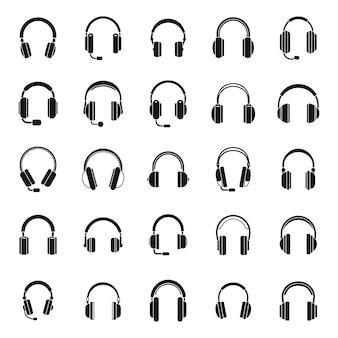 Le icone dell'accessorio per auricolare hanno impostato il vettore semplice. cuffie con cavo audio. chiamata comunicazione