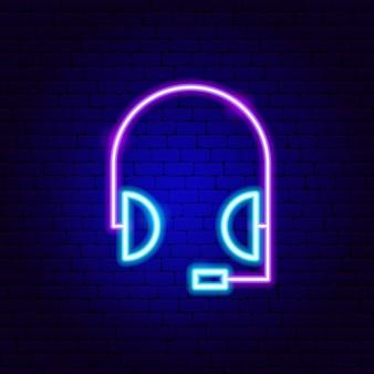 Insegne al neon delle cuffie. illustrazione vettoriale di promozione aziendale.