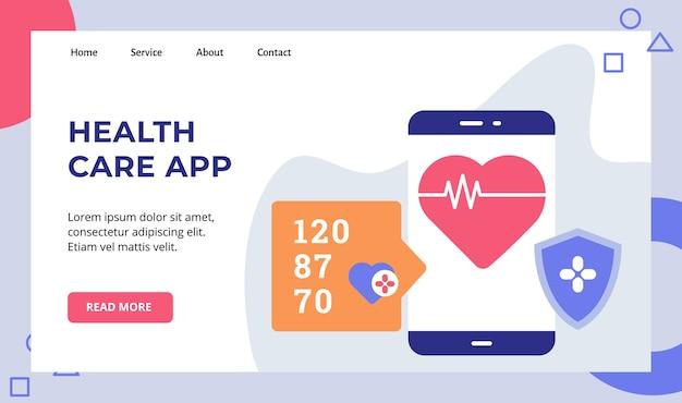 Battito cardiaco dell'app di assistenza sanitaria sulla campagna di protezione dello schermo dello schermo dello smartphone per la pagina di destinazione della home page del sito web