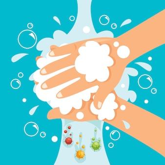 Concetto di sanità con le mani di lavaggio