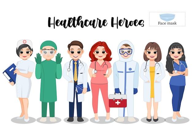 Eroi dell'assistenza sanitaria, illustrazione di personaggi di medici e infermieri ed elemento di maschere per il viso