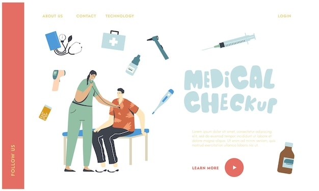 Modello di pagina di destinazione per il check-up medico e sanitario