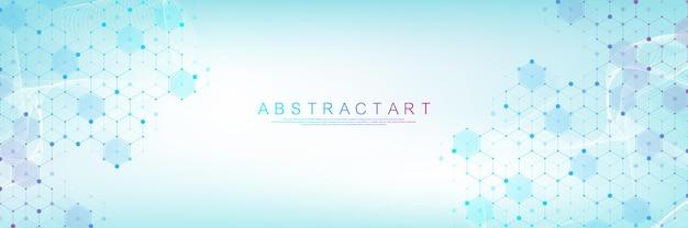 Sanità e modello medico innovazione concetto scienza sfondo design astratto geometrico esagono ...