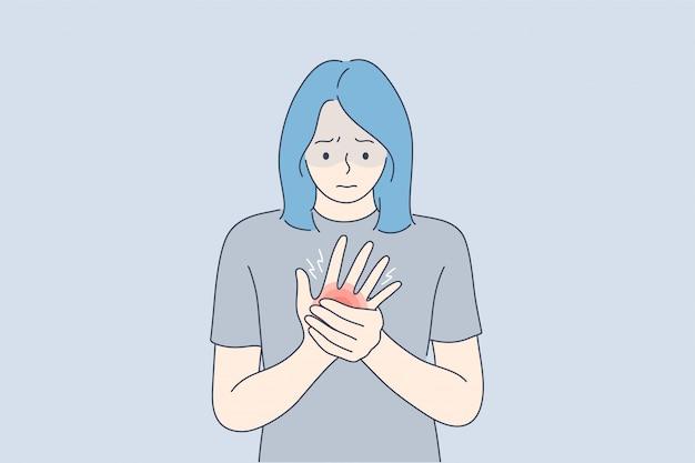 Salute, cura, medicina, dolore, concetto di trauma
