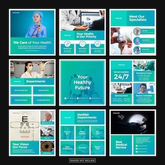 Modelli di post di instagram minimalista di assistenza sanitaria