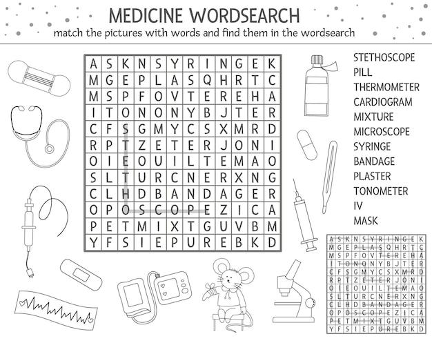 Puzzle di ricerca di parole di contorno di assistenza sanitaria