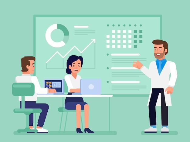Piano di assistenza sanitaria. squadra medica professionale nella riunione della sala del consiglio presso l'ufficio. illustrazione piatta moderna per web design, marketing e materiale di stampa.