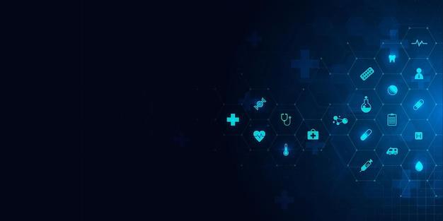 L'assistenza sanitaria e la scienza modello icona innovazione medica concetto sfondo disegno vettoriale.