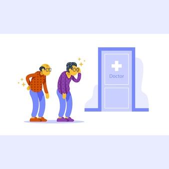 Controllo sanitario, procedura medica annuale, coppia senior in coda