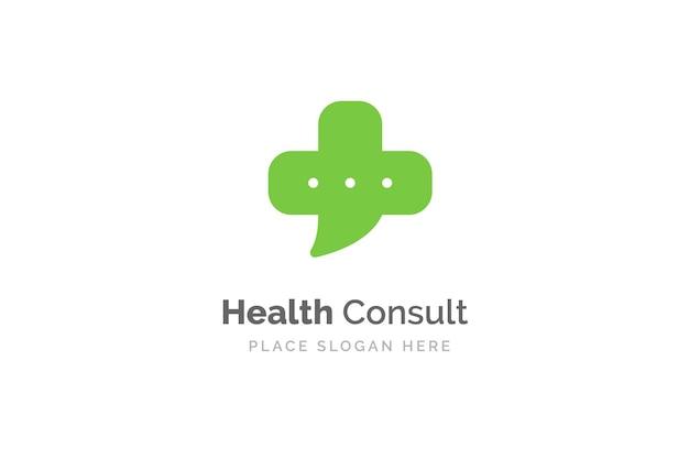 Modello di progettazione del logo di consulenza sanitaria. forma di croce medica isolata sul simbolo della chat a bolle