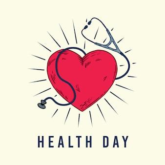 Illustrazione disegnata a mano del cuore e dello stetoscopio di giorno di salute