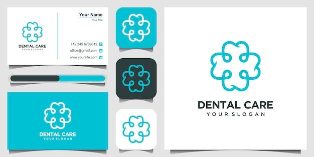 Modello di ammaccatura di salute con simboli di formazione più stile lineare. clinica dentale icona di concetto di logotipo.