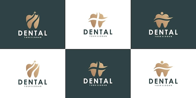 Collezione di design del logo dentale per la salute