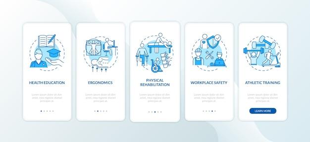 Istruzione sanitaria blu sulla schermata della pagina dell'app mobile d'imbarco con concetti.