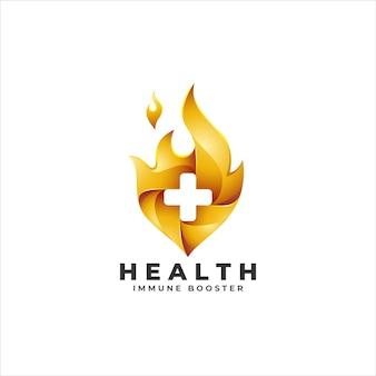 Logo di potenziatore della salute con il concetto di croce bruciante per il potenziamento immunitario