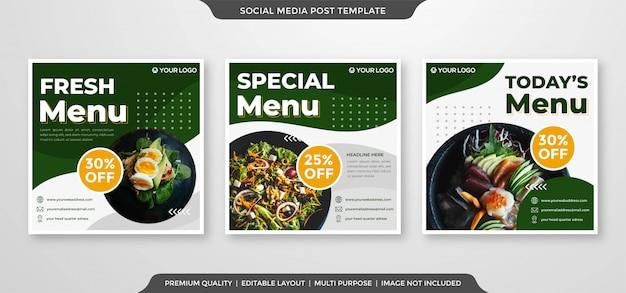 Modello di annunci banner social media di alimenti biologici