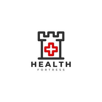 Modello di logo della fortezza di salute