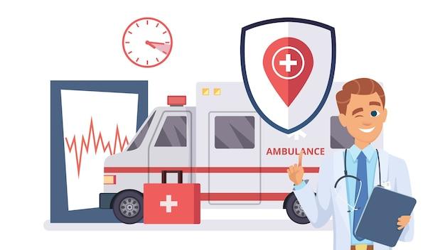 Concetto di assicurazione sanitaria. dottore, illustrazione piatta auto ambulanza. aiuto di assicurazione medica, sfondo sanitario.