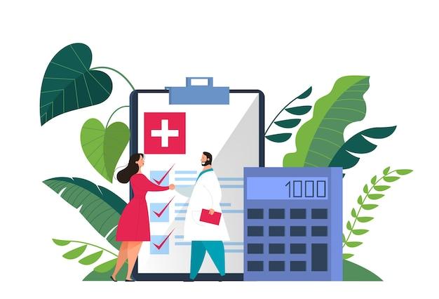 Banner web di concetto di assicurazione sanitaria. persone e medico in piedi presso i grandi appunti con un documento su di esso. assistenza sanitaria e servizio medico. illustrazione