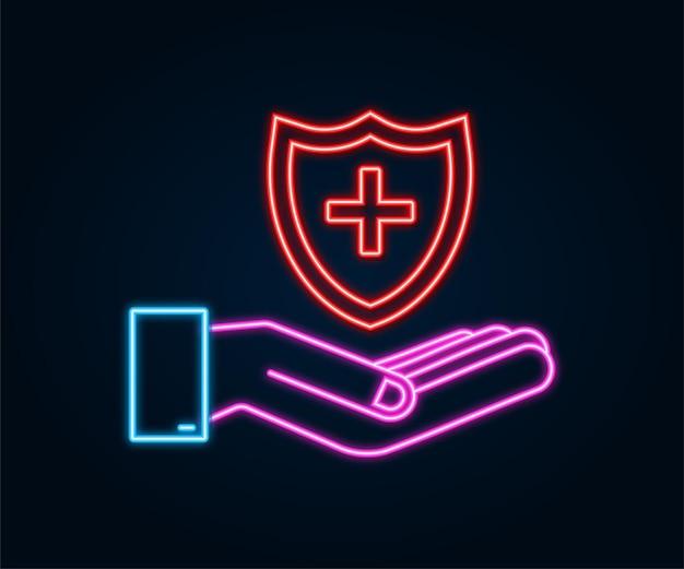 Assicurazione sanitaria mani che tengono l'insegna al neon di assicurazione protezione medica concetti di assicurazione medica
