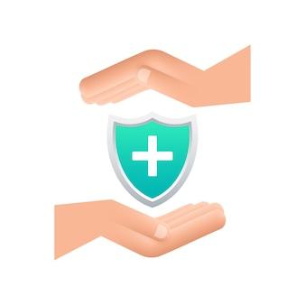 Assicurazione sanitaria mani che tengono segno di assicurazione protezione medica concetti di assicurazione medica
