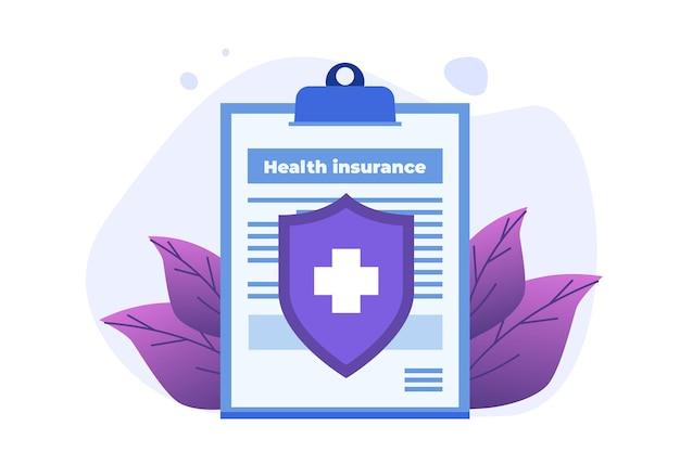 Concetto di servizio di assicurazione sanitaria. appunti con modulo di documento medico.