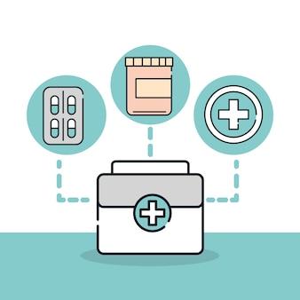 Salute medica valigia pronto soccorso medicina illustrazione linea e riempimento