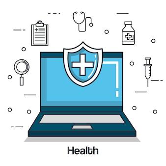 Icone online di medicina della salute