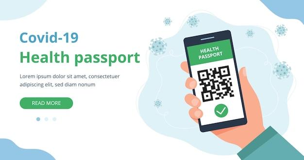 Concetto di passaporto sanitario mano che tiene uno smartphone con stato di vaccinazione con codice qr