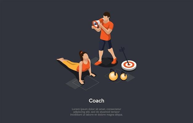 Salute e concetto di attività sportive popolari. ragazza che esercita facendo flessioni sotto la visione di allenatore di fitness. manubri e obiettivo