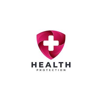 Modello di logo dello scudo di salute