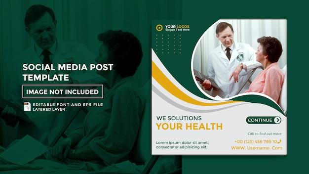 Modello di post sui social media a tema salute
