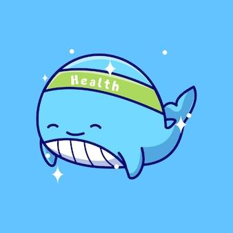 Icona del fumetto di vettore dell'illustrazione della mascotte della balena di salute