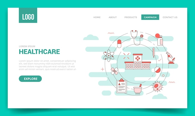 Concetto di assistenza sanitaria con l'icona del cerchio per il modello di sito web