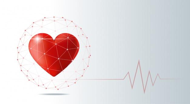 Concetto di assistenza sanitaria con cuore rosso protetto in scudo sfera poligonale